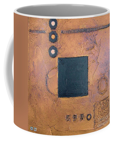 Sets Coffee Mug featuring the mixed media Trimetal Three by Marlene Burns