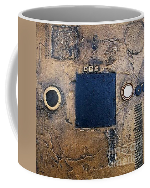 Metal Coffee Mug featuring the mixed media Trimetal Two by Marlene Burns