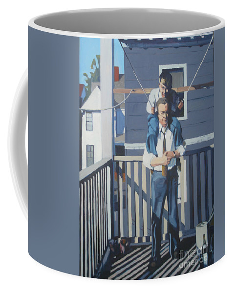 City Scape Coffee Mug featuring the painting Triple Decker Derby by Deb Putnam