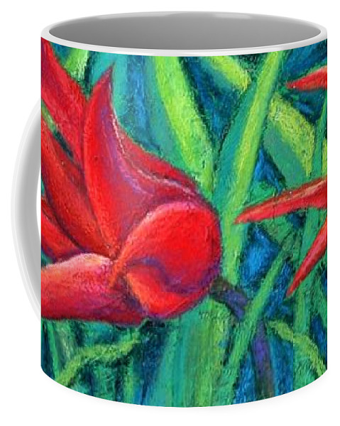 Tulips Coffee Mug featuring the painting Triple Tease Tulips by Minaz Jantz