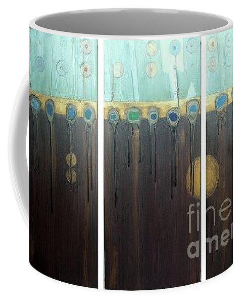 Triptych Coffee Mug featuring the painting Tripped Out by Marlene Burns