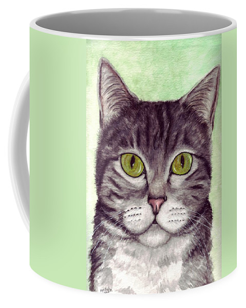 Cat Coffee Mug featuring the painting Tripper by Kristen Wesch