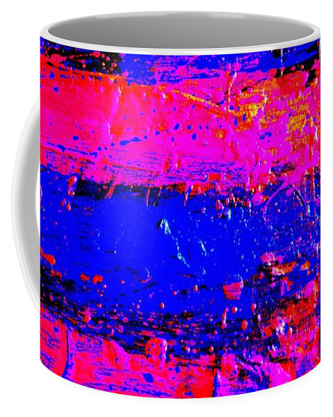 Abstract Coffee Mug featuring the painting Triptych 3 Cropped by John Nolan