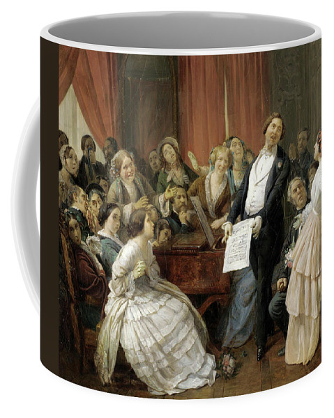 Francois-auguste Biard Coffee Mug featuring the painting Triumph Of A Tenor At A Musical Matinee by Francois-Auguste Biard