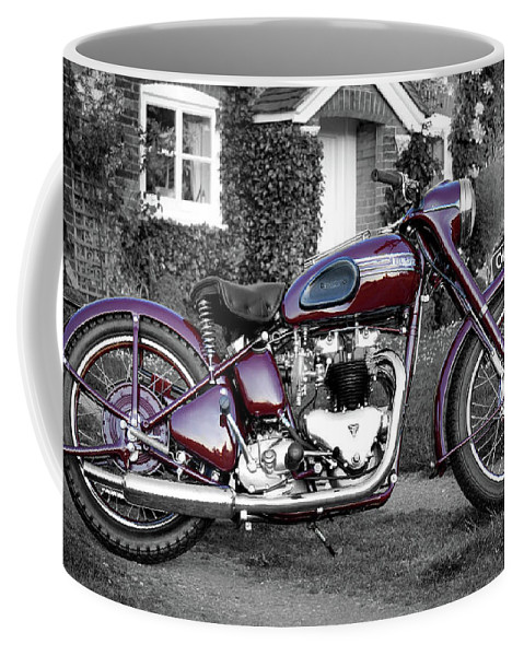 Triumph Speed Twin Coffee Mug featuring the photograph Triumph Speed Twin 1954 by Mark Rogan