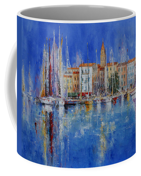 Ports Coffee Mug featuring the painting Trogir - Croatia by Miroslav Stojkovic - Miro