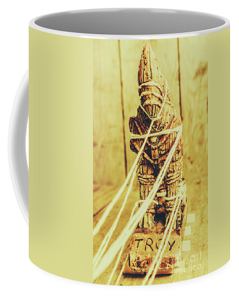 Trojan Coffee Mug featuring the photograph Trojan Horse Wooden Toy Being Pulled By Ropes by Jorgo Photography - Wall Art Gallery