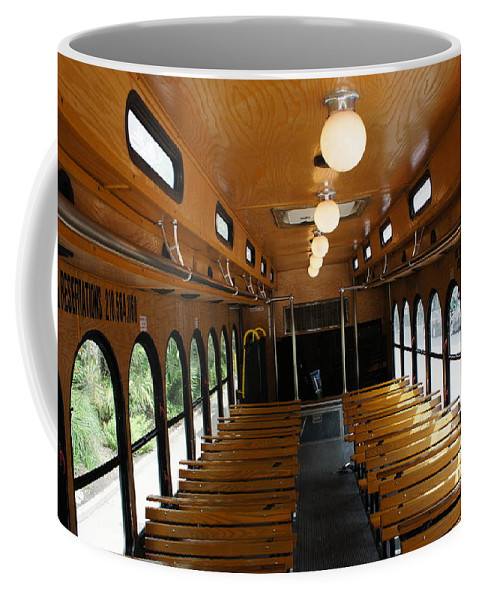 Grand Trolley Travel Coffee Mug featuring the photograph Trolley Interior by Art Spectrum