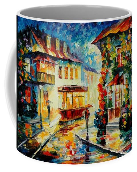 Afremov Coffee Mug featuring the painting Trolley by Leonid Afremov