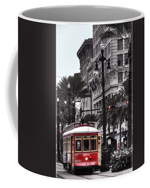 Nola Coffee Mug featuring the photograph Trolley On Bourbon And Canal by Tammy Wetzel