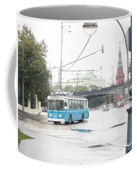 Trolleybus Coffee Mug featuring the photograph Trolleybus Near The Kremlin by James Hanemaayer