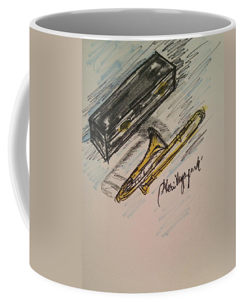 Trombone Coffee Mug featuring the painting Trombone by Geraldine Myszenski
