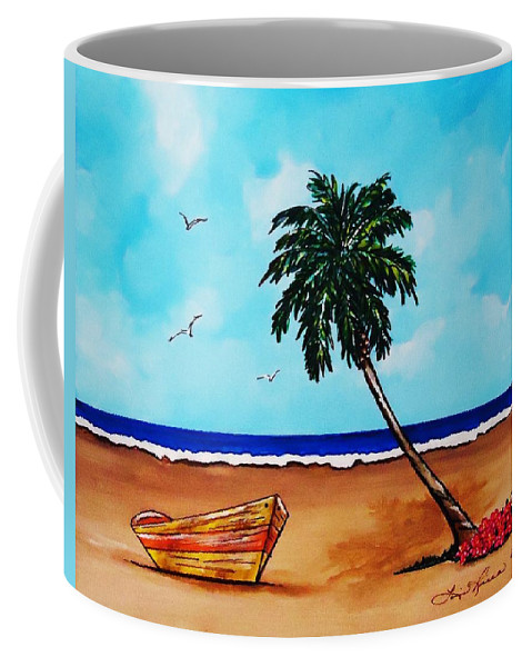 Palm Tree Coffee Mug featuring the painting Tropical Beach Scene by Lois  Rivera
