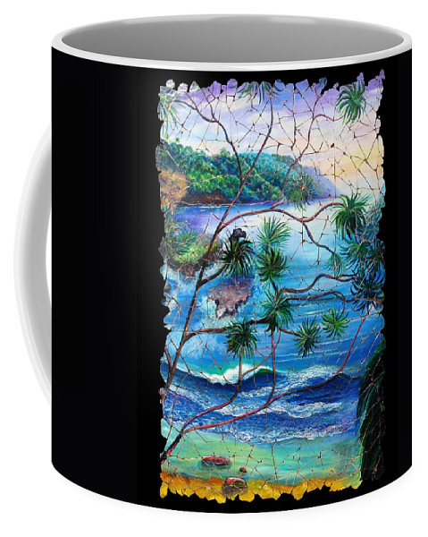 Tropical Cove Set Coffee Mug featuring the painting Tropical Cove Fresco Triptych 2 by OLena Art Brand