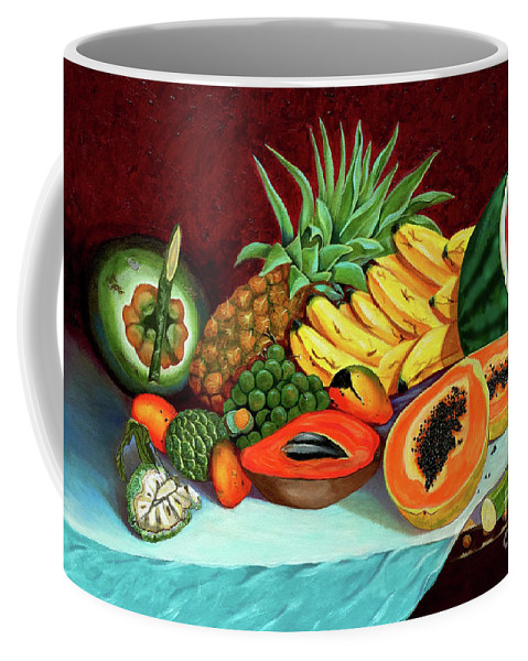Coconut Coffee Mug featuring the painting Tropical Fruits by Jose Manuel Abraham