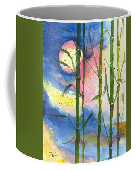 Landscape Coffee Mug featuring the painting Tropical Moonlight And Bamboo by Darice Machel McGuire