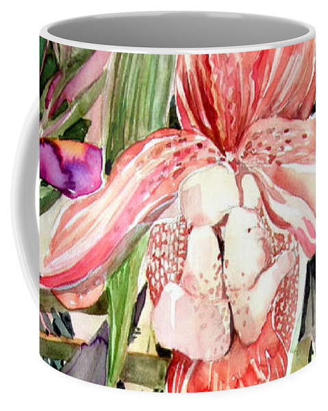 Watercolor Coffee Mug featuring the painting Tropical Orchids by Mindy Newman
