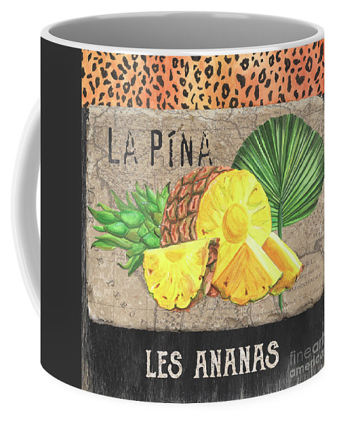 Pineapple Coffee Mug featuring the painting Tropical Palms 5 by Debbie DeWitt