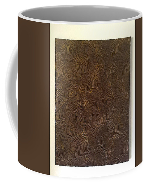 Tropical Coffee Mug featuring the painting Tropical Palms Canvas Bronze - 16x20 Hand Painted by Artistic Mystic
