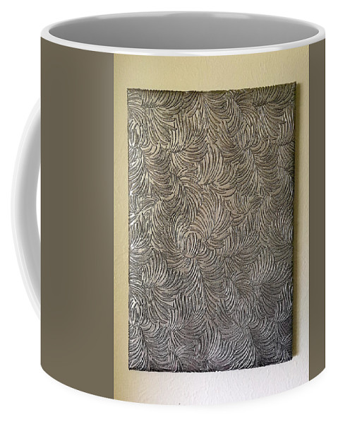 Tropical Coffee Mug featuring the painting Tropical Palms Canvas Silver - 16x20 Hand Painted by Artistic Mystic