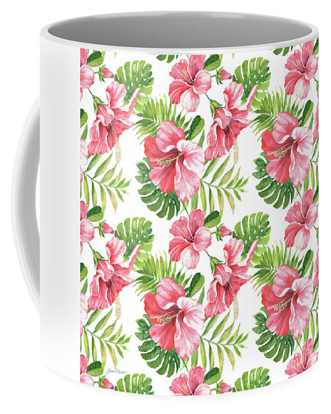 Hibiscus Coffee Mug featuring the painting Tropical Paradise-jp3962 by Jean Plout
