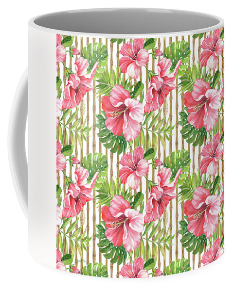 Hibiscus Coffee Mug featuring the painting Tropical Paradise-jp3964 by Jean Plout