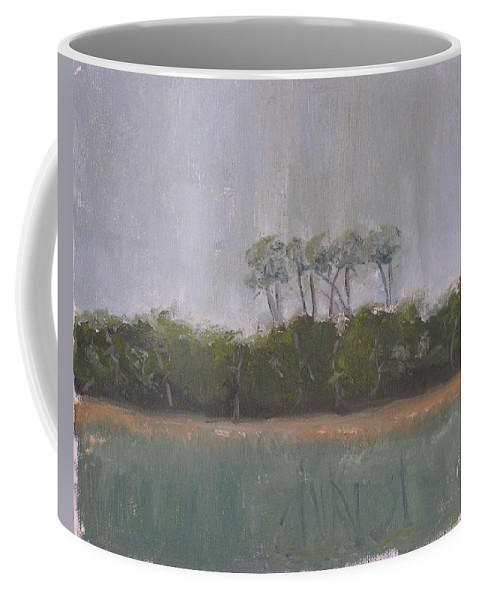 Landscape Beach Coast Tree Water Coffee Mug featuring the painting Tropical Storm by Patricia Caldwell