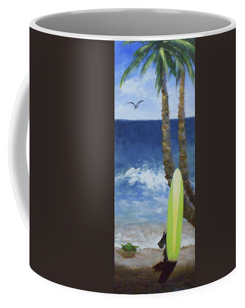 Palm Coffee Mug featuring the painting Tropical Surfboard by Jamie Frier