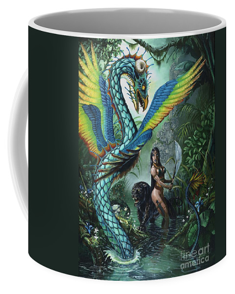 Dragon Coffee Mug featuring the painting Tropical Temptress by Stanley Morrison