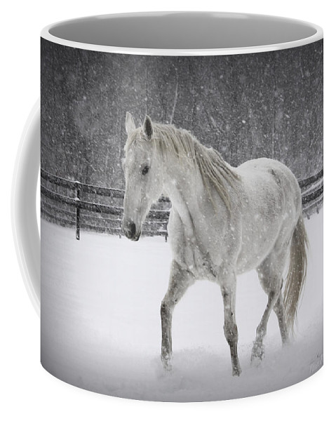 Horse Coffee Mug featuring the photograph Trot In The Snow by Tina Meador