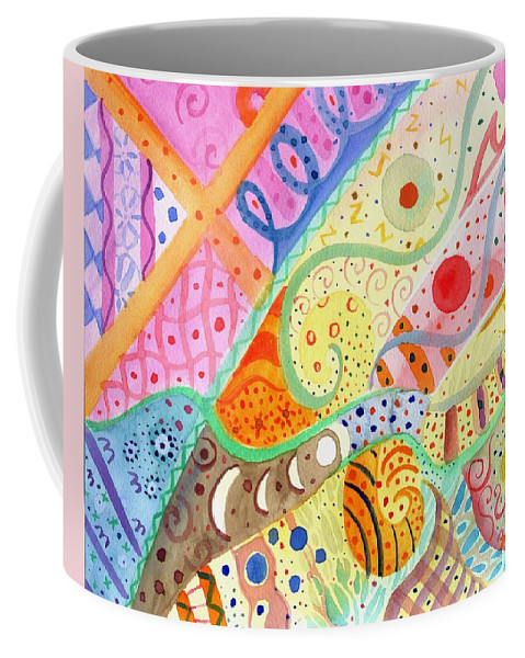 Elephant Coffee Mug featuring the painting Trotting Lightly by Helena Tiainen