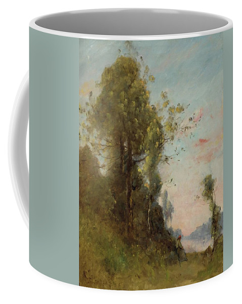 Nature Coffee Mug featuring the painting Trouillebert, Paul Desire 1829 Paris 1900 Farmer Sitting On The Edge Of The Water by Paul Desire