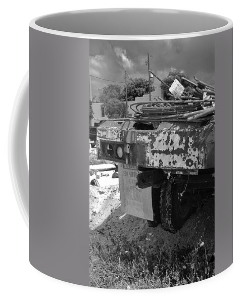 Black And White Coffee Mug featuring the photograph Trucks And Sky by Rob Hans