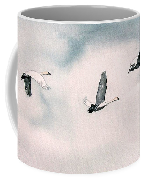 Swans Coffee Mug featuring the painting Trumpeters by Gale Cochran-Smith