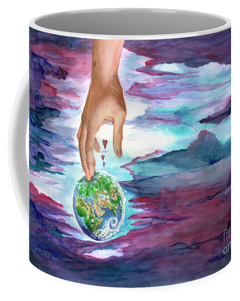 Earth Coffee Mug featuring the painting Trust Me by Nancy Cupp
