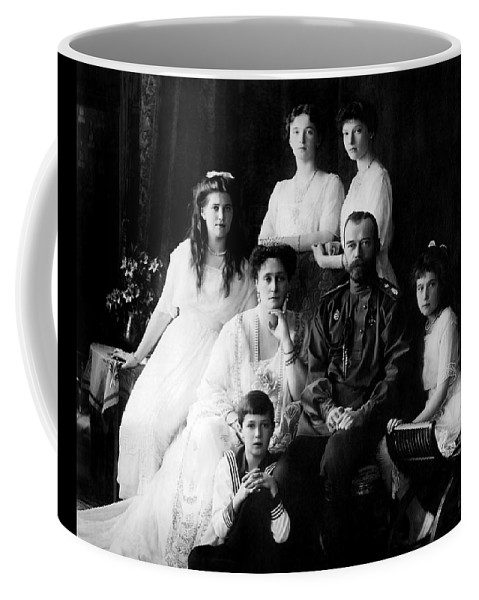 Russian Tsar Coffee Mug featuring the photograph Tsar Nicholas II And His Family - 1913 by War Is Hell Store