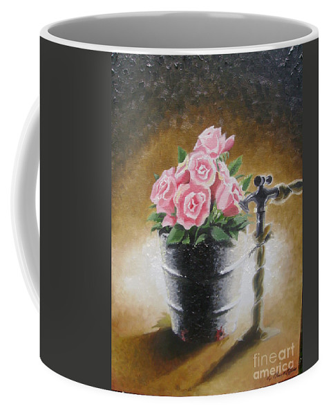 Flowers Coffee Mug featuring the painting Tub Of Roses by Chuck Collins