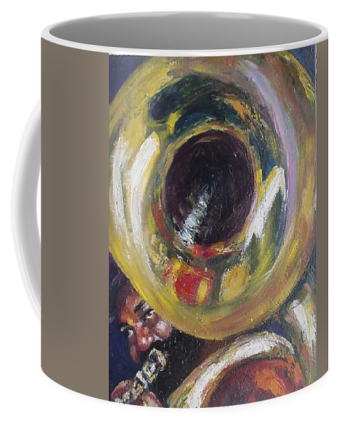 Tuba. Tuba Fats Coffee Mug featuring the painting Tuba Fats by Beverly Boulet