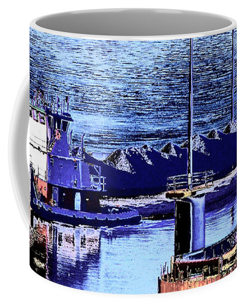 Abstract Coffee Mug featuring the photograph Tug Reflections by Rachel Christine Nowicki