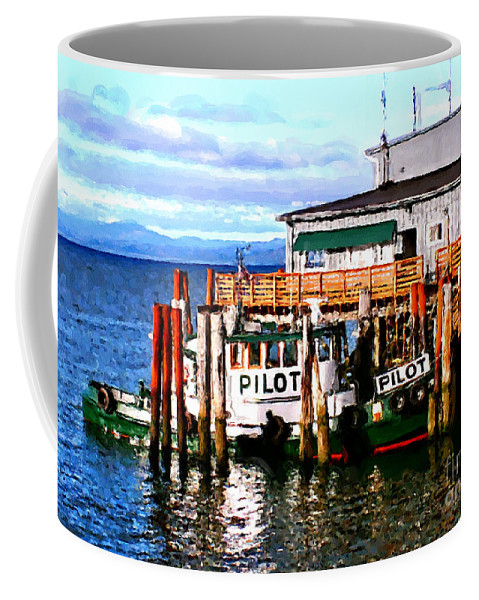 Tugboast At Rest Coffee Mug featuring the painting Tugboat At Rest by Methune Hively