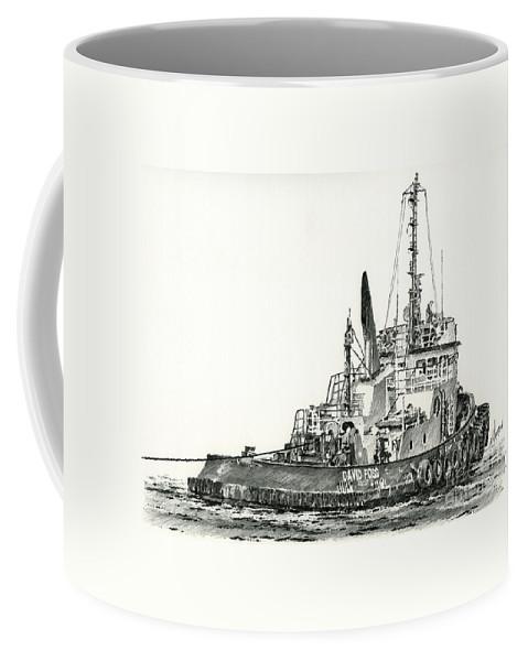 Tug Coffee Mug featuring the drawing Tugboat David Foss by James Williamson