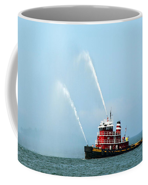 Tugboat Coffee Mug featuring the photograph Tugboat's Welcome Salute by Carla Parris