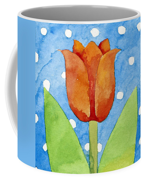 Flower Coffee Mug featuring the painting Tulip Blue White Spot Background by Jennifer Abbot