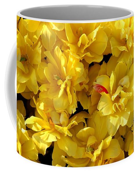 Flower Coffee Mug featuring the photograph Tulip Bunching by Deborah Crew-Johnson