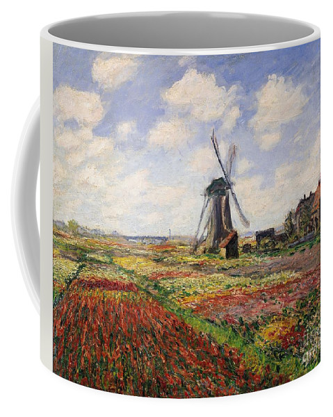 Claude Monet Coffee Mug featuring the painting Tulip Fields With The Rijnsburg Windmill by Claude Monet