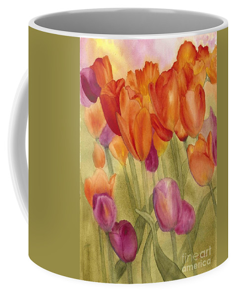Tulips Coffee Mug featuring the painting Tulip Glory by Louise Magno