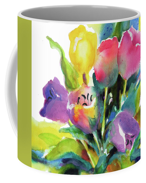 Painting Coffee Mug featuring the painting Tulip Pot by Kathy Braud
