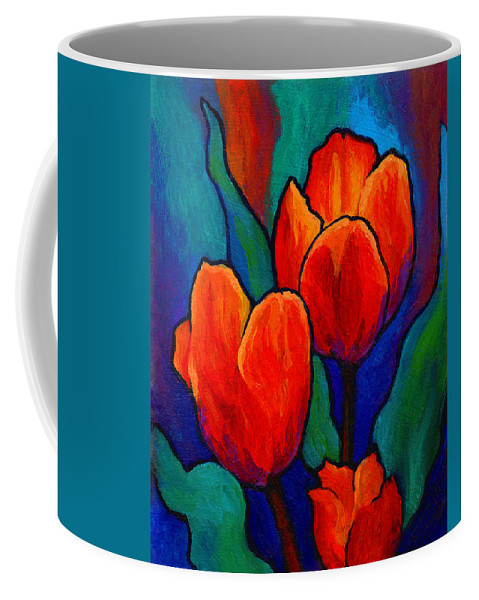 Floral Coffee Mug featuring the painting Tulip Trio by Marion Rose