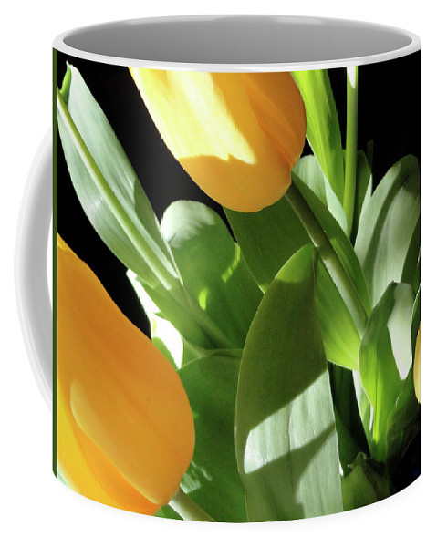 Yellow Coffee Mug featuring the photograph Tulip Trio by Shannon Grissom