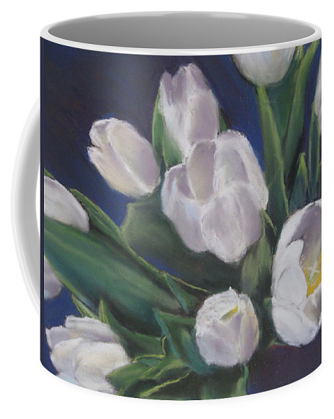 White Tulips Coffee Mug featuring the pastel Tulips by Constance Gehring